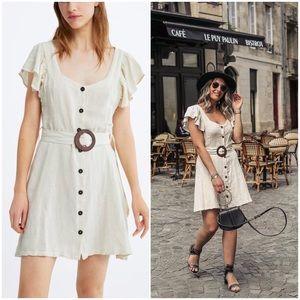 Linen Blend Buckle Belted Dress